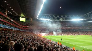 Flares in a football stadium. Not good.