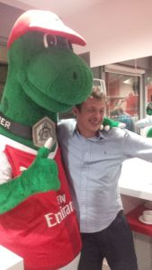 A man with large facial features....& Gunnersaurus!