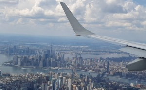 Incredible view on NYC approach